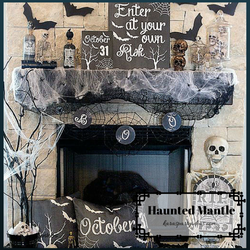 Halloween Party Decorating Tips haunted mantle