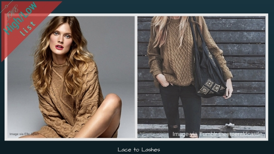 The High/low List Camel Cable Knit