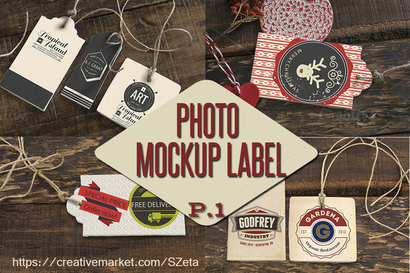 photo mockup labels